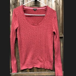 Eddie Bauer V-neck cable knit pink-peach sweater L